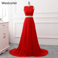 2018 Real Photo Two Pieces Prom Dress Jewel Neck Sleeveless Sweep Train Lace Long Red Party Gowns