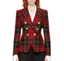 New 2018 spring women's double-breasted plaid blazers Fashion ladies slim fit buttons england style coat insight guides new england