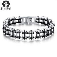 Jiayiqi Cool Punk Men Biker Bicycle Motorcycle Chain Men S Bracelets Bangles Fashion 3 Color 316L