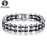 Jiayiqi Cool Punk Men Biker Bicycle Motorcycle Chain Men S Bracelets Bangles Fashion 3 Color 316L
