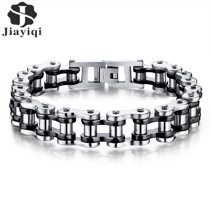 Jiayiqi Cool Punk Men Biker Bicycle Motorcycle Chain Men's Bracelets & Bangles Fashion 3 Color 316L Stainless Steel Jewelry sda 24mm width punk 316l stainless steel bracelet men biker bicycle motorcycle chain men s bracelets mens bracelets