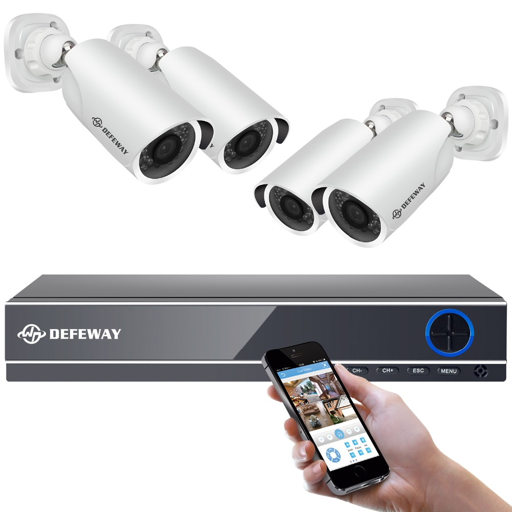 DEFEWAY 4CH CCTV System 1080p DVR 4PCS 2.0MP IR Weatherproof Outdoor Video Surveillance Home Security Camera System 4CH DVR Kit defeway 4ch 720p cctv system outdoor mini camera hd recorder 4ch hdmi p2p cctv dvr security home video surveillance hot sale