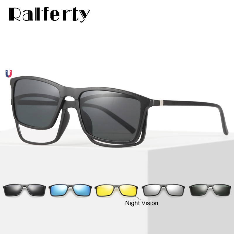 Ralferty Multiclip Glasses Frame Clip On Magnetic Sunglasses Men Women Polarized Sunglases Square Sun Glasses Prescription A8806