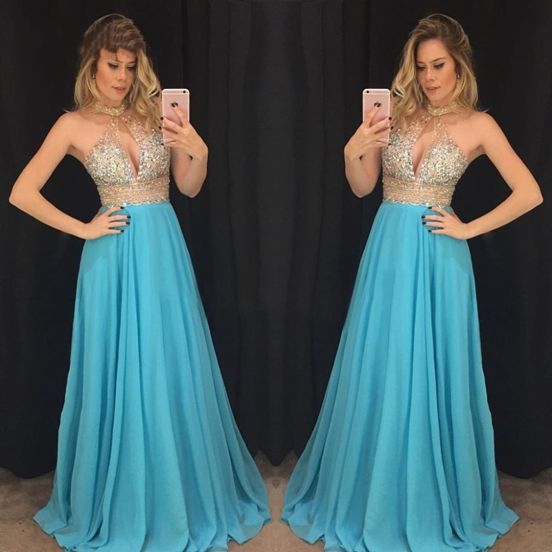 Image 5 - 2019 Beaded Chiffon Luxury A line Evening Dresses Real Photo See Through Long Evening Gowns Halter Sexy Formal Dresses DB22102-in Evening Dresses from Weddings & Events