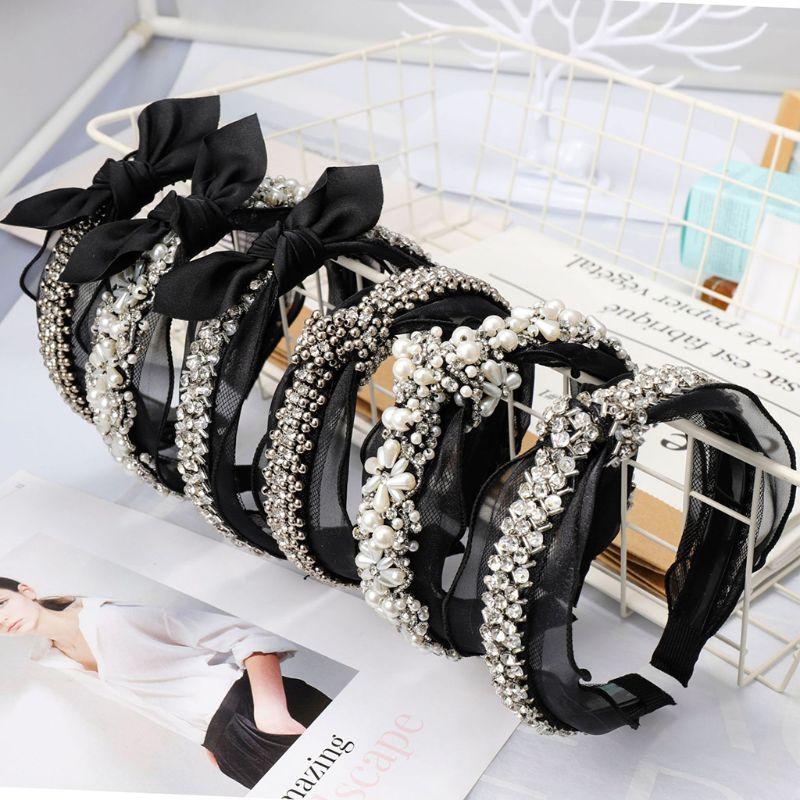 Wedding Jewelry Wide Headband Ladies Vintage Faux Pearl Rhinestone Handmade Beading Hair Hoop Hollow Gird Bowknot Lace Headwear