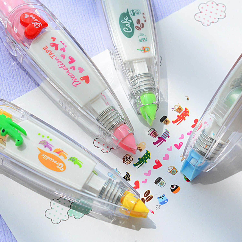 4 piezas de dibujos animados bonitos estilo de prensa de corrección de cinta adhesiva juguetes para niños cuaderno diario álbum de recortes suministros escolares
