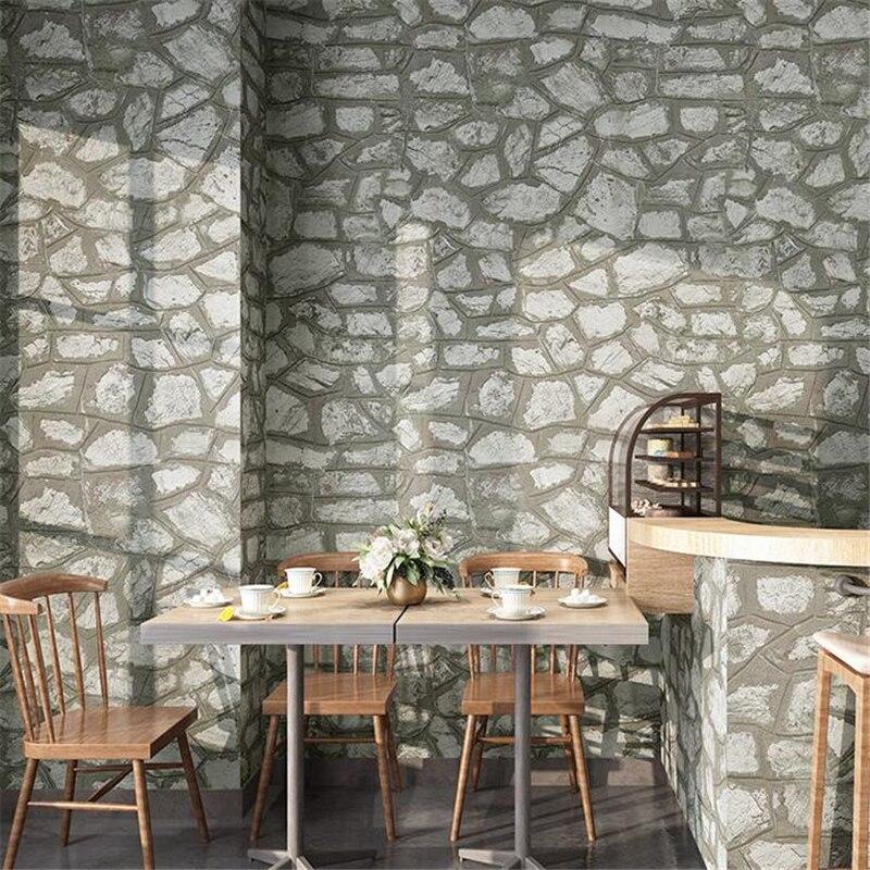 Beibehang rétro brique pierre antique pierre motif industriel vent papier peint magasin de vêtements restaurant barbier gris papier peint