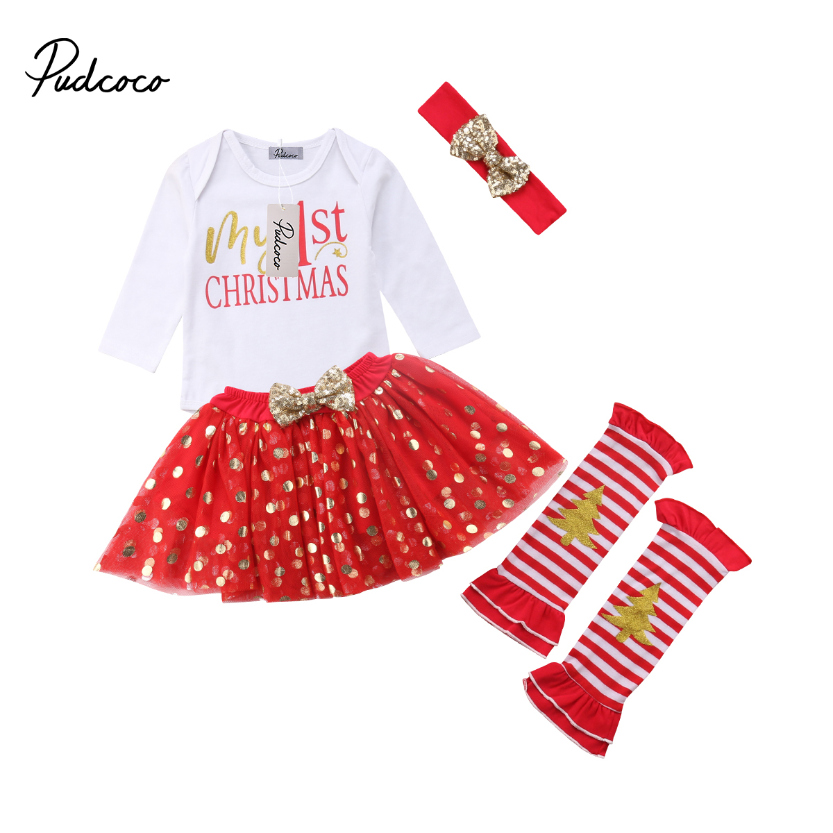5Pcs Newborn Baby Girls My 1st Christmas Long Sleeve Romper +Dot Skirts+Leg Warmers+Sequins Headband Outfits Clothes Sets 0-24M 2016 new arrival baby girls outfits halloween baby kids boutique baby girl halloween sets with necklace and headband leg warmers