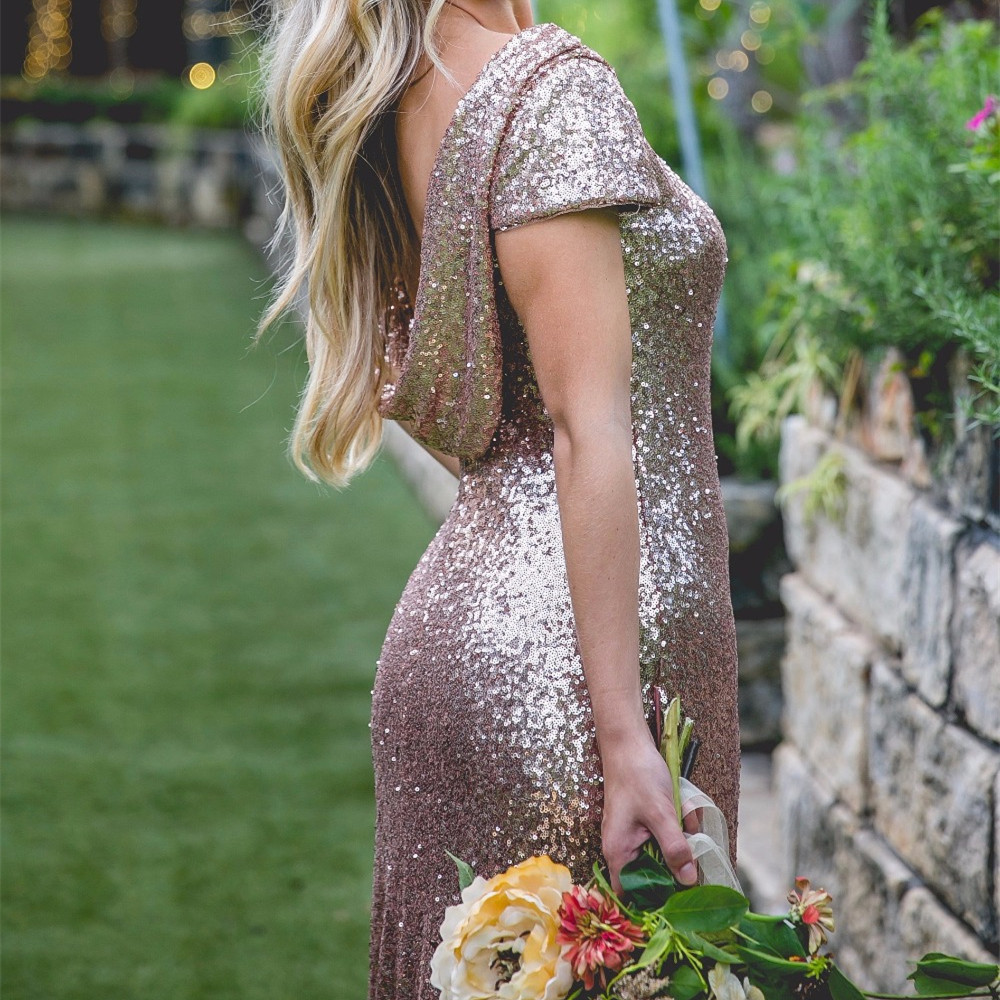 a87f83aa3e Five Styles Long Rose Gold Sequins Bridesmaid Dresses 2017 Modern Style  Glitter Gowns-in Bridesmaid Dresses from Weddings   Events on  Aliexpress.com ...