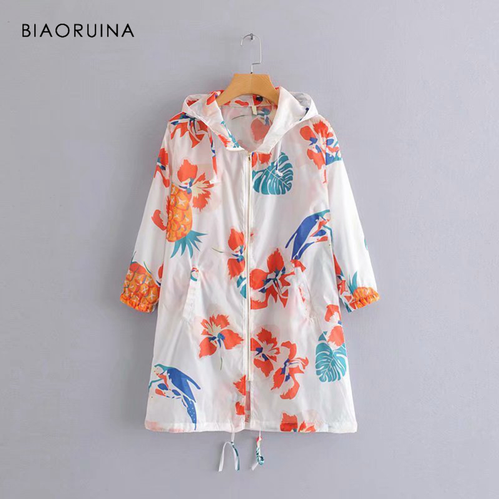 BIAORUINA Women Casual Printed Long   Trench   Female Fashion Sunscreen Coat Streetwear Women's Summer Hooded Coat Outerwear