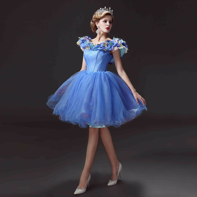 Scoop Blue Short Homecoming Dresses 2016 Adult Cinderella Cap Sleeve Ball Gown Graduation Prom Party Dress