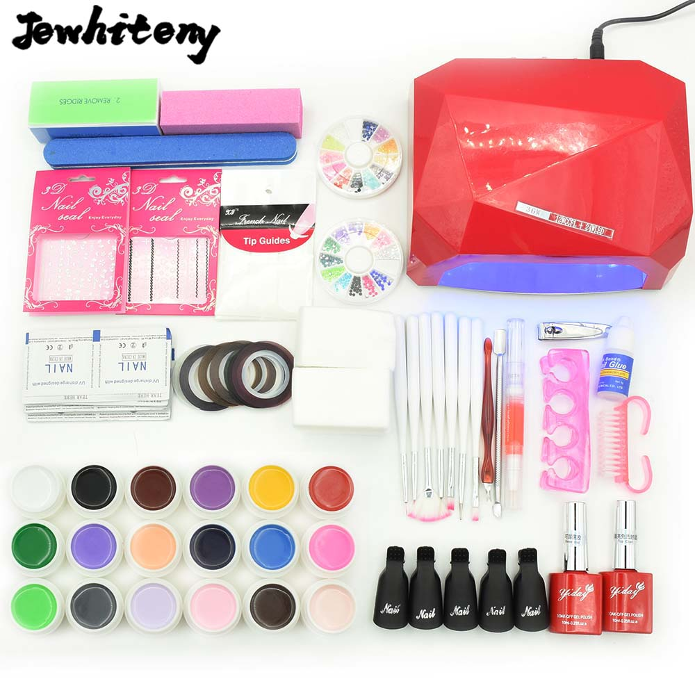 JEWHITENY Nail Gel Soak-off Gel polish kit 18 colors varnishes Top & Base Coat 36W LED lamp art kits nail sets manicure tools nail art manicure tools set uv lamp 10 bottle soak off gel nail base gel top coat polish nail art manicure sets