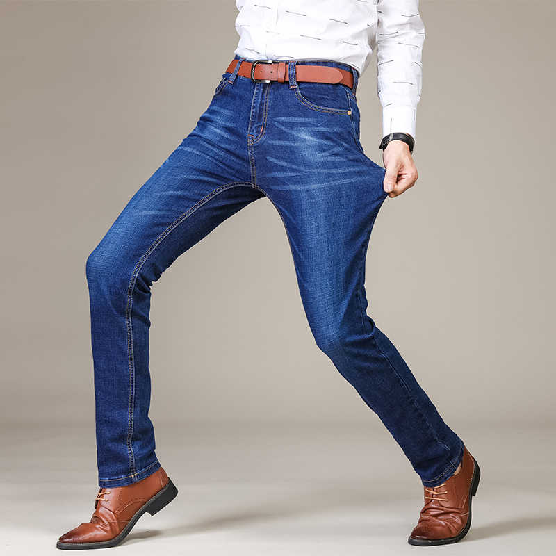 2019 New Brand Men's Fashion Business Casual Stretch Slim Classic Trousers Denim Pants Male Plus size skinny men Jeans