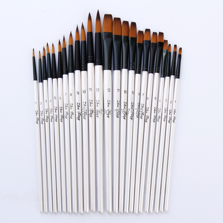 24pcs set nylon hair blue wooden handle paint brush art for Wholesale craft paint brushes