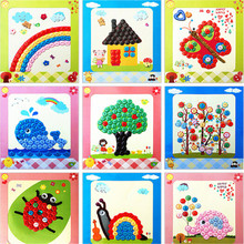 Creative Handmade Toys kids Sticky Art DIY Button to Craft Painting For Over 3 Years Kid Children Educational