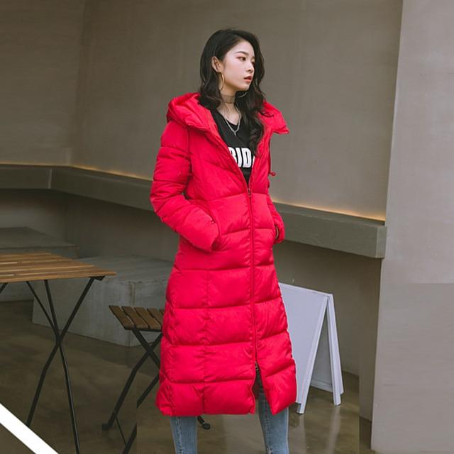 2019 Hiver femmes veste x-long à capuche coton rembourré Femme Manteau haute qualité vêtements d'extérieur chauds femmes Parka Manteau Femme Hiver 6
