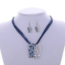ZOSHI Fashion Colorful Hollow Square Pendant Necklace Earrings Set Multilayer leather Neckalce Wholesale Boho jewelry sets Gift