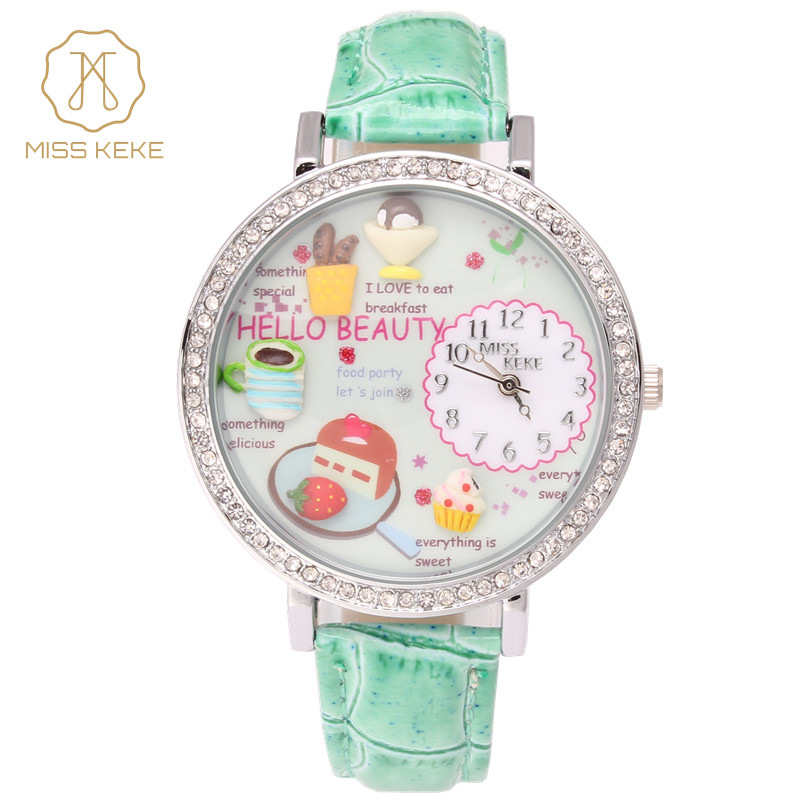2017 MISS KEKE Clock Women Clay 3D Cute Womens Watches PU Strap Children Lady Womens HELLO BEAUTY Quartz Girl Wristwatches miss keke women watches 2017 clay 3d mini cute world city young pretty girl kids children watch pink pu strap wristwatches
