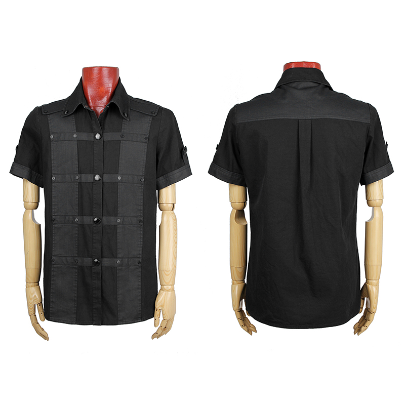 Punk Man Personality Short Sleeve Cotton Shirts Steampunk Spring Autumn Black Single Breasted Casual Shirt Tops mens casual 3d personality skull printing short sleeve t shirt cotton sport black tees