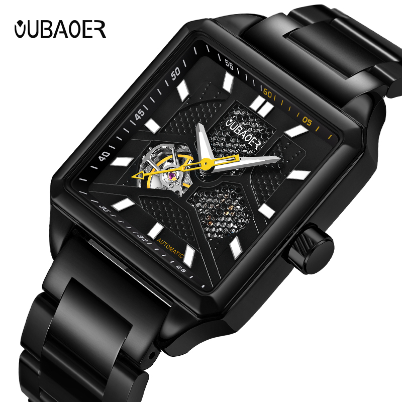 OUBAOER Automatic Mechanical Men Watch Top Brand Luxury Stainless Steel Mens Watches Military Sport Skeleton Male Clock Hot goer men military sport clock male business skeleton clocks automatic mechanical watches top brand luxury mens wrist watch