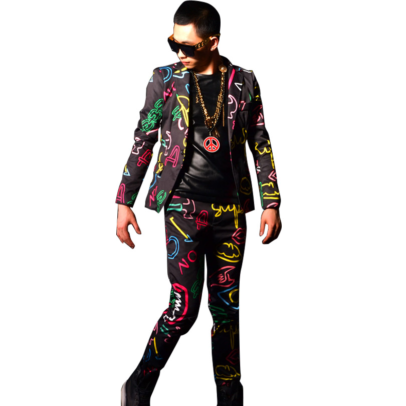 Neon Lights Printing Custom Male Fashion Casual Blazers Jacket Suit Coat Men Slim Fit Suit Stage Dancer Singer DJ Costumes