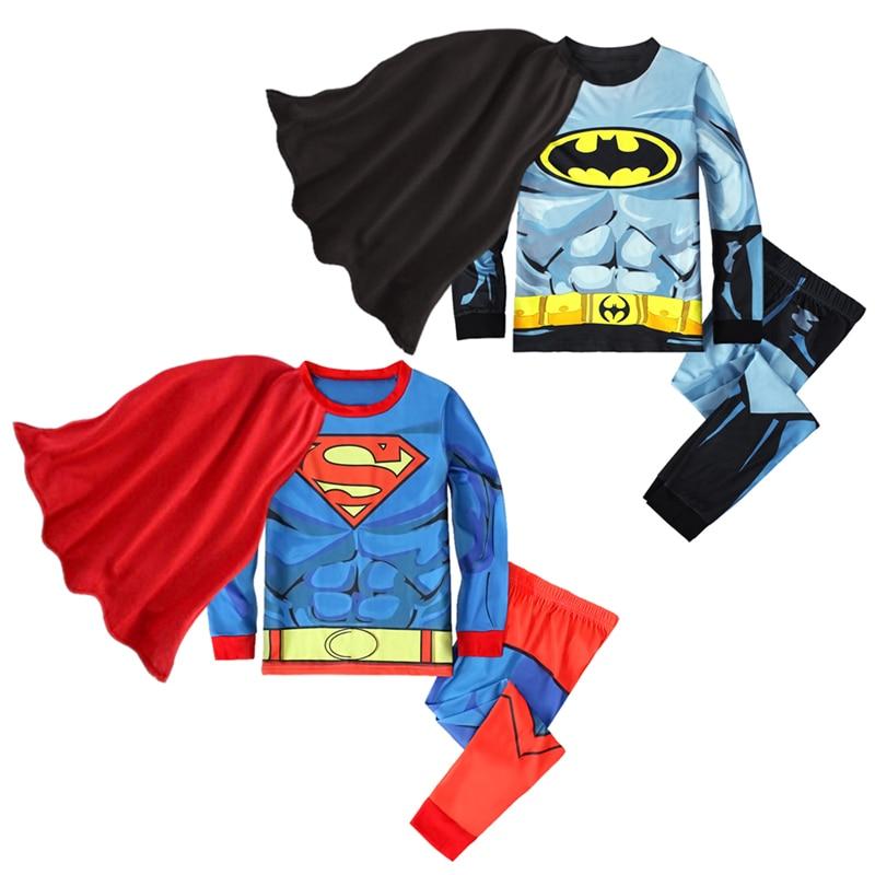 Rorychen Baby Kids Pyjamas Boys Superman Batman Sleepwear Kids Pijamas Boys Pajamas Sets Children Superman Batman Nightwear