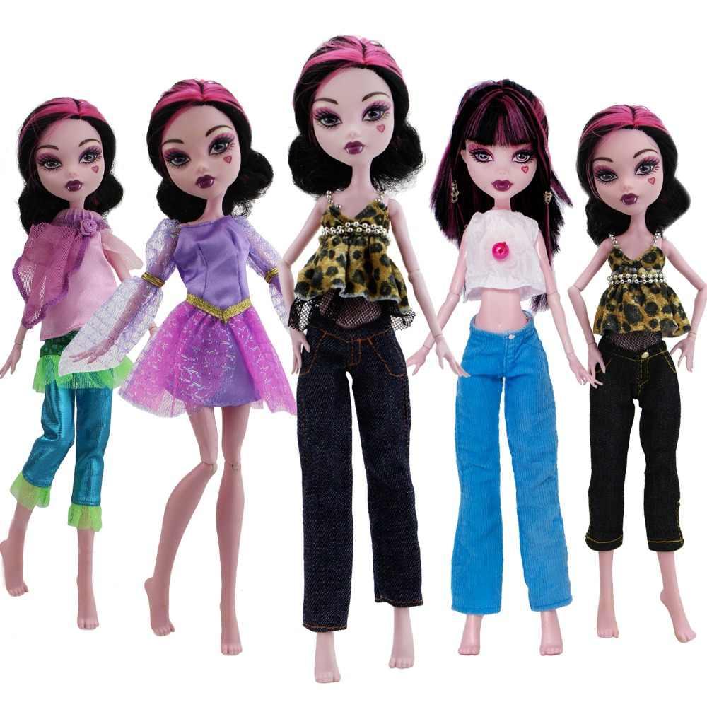 1 комплект одежды леопардовые кружевные топы, блузка, джинсы, брюки, платье, одежда аксессуары для куклы Monster High для Ever After High