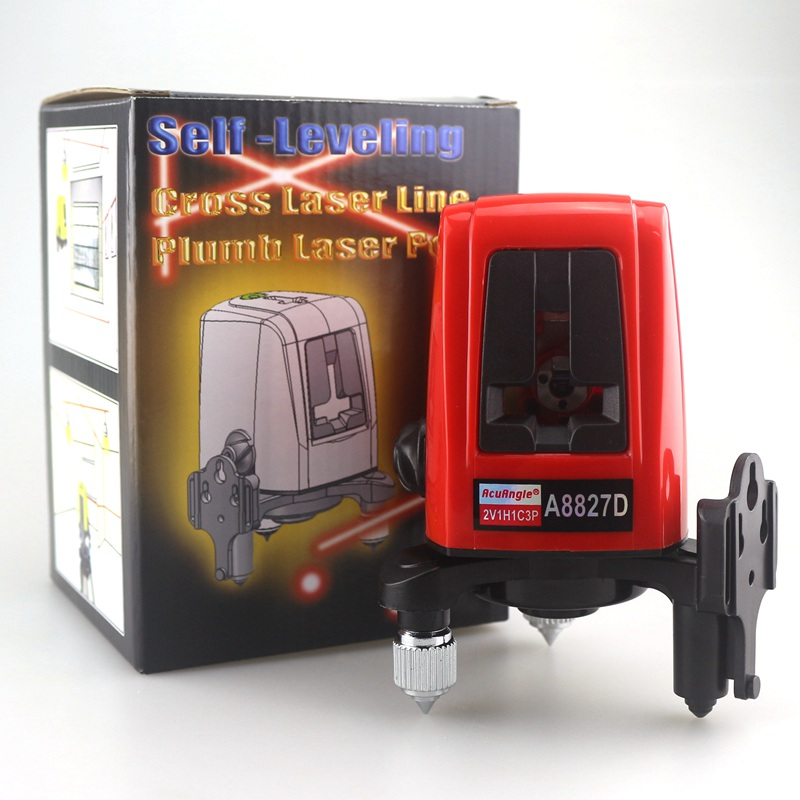 ACUANGLE A8827D Laser Level 3 Lines 3 points Red Line Tape Measure 360degree Self-leveling Cross Level Laser Vertical Horizontal a8827d 360 degree self leveling 3 lines 3 points rotary horizontal vertical red laser levels cross laser line laser highlights