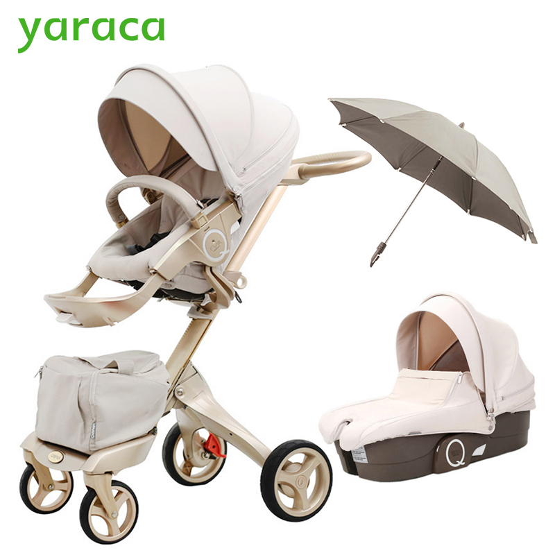 Luxury Baby Stroller High Landscape Portable Baby Carriages Folding Prams For Newborns Travel System 2 in 1 folding baby stroller lightweight baby prams for newborns high landscape portable baby carriage sitting lying 2 in 1