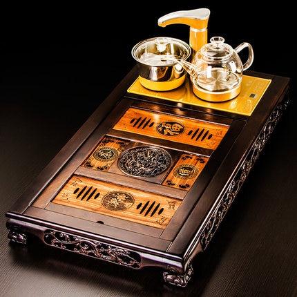 Classical Tea Tray Ebony Solid Wood Tea Set Ceramic Purple Sand Teapot Teacup Set Kung Fu Tea Set Automatic Fast Furnace Home 2