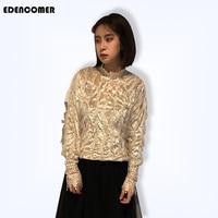 EDENCOMER New Fashion Women Clothing 2019 Sweet American Velvet Spelling Lace Shirt Long sleeved Spring Suit Blouses Tops