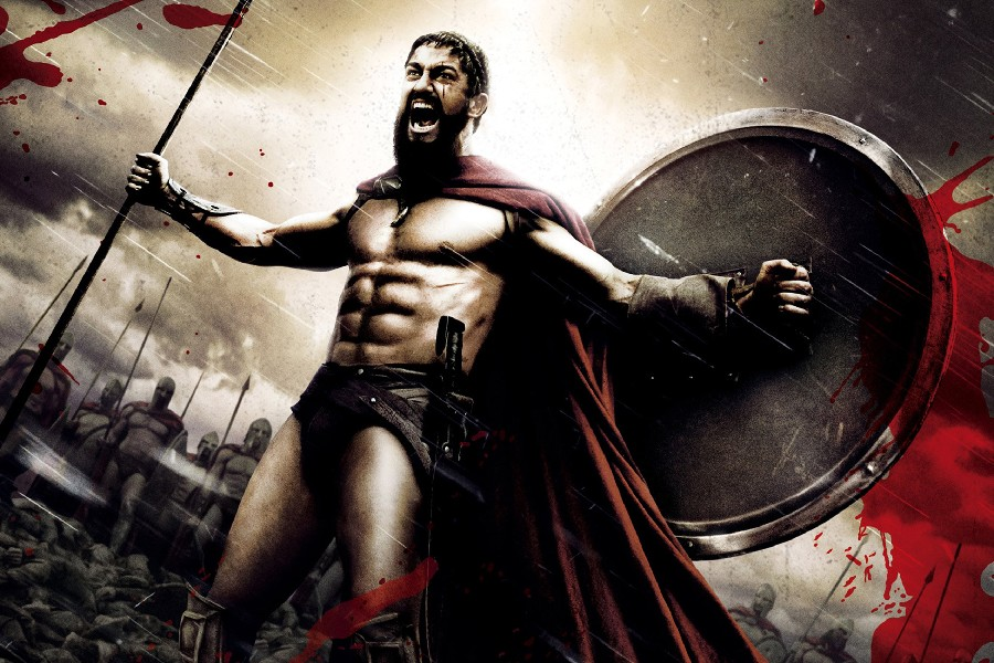 Gerard butler, könig leonidas 300 spartan film poster und druck glänzend seide...