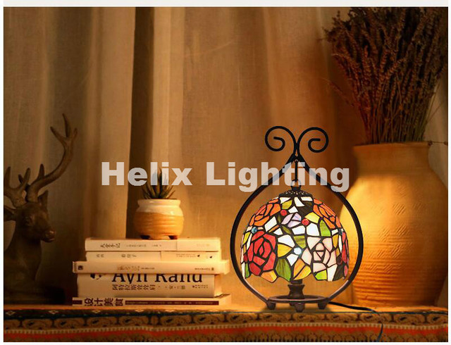 Free Shipping Tiffany Table Lamps D21cm H32cm Luxurious Ancient Garden E27  Bedside Lamps Living Room Decoration