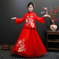 Autumn Winter New Chinese Traditional Embroidery Flowers Children Girls Red Color Long Sleeves Party Dress Teens Piano Dress