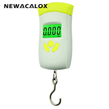 NEWACALOX 50kg/110lb Digital Travel luggage Scale Weight Fishing LCD Stainless Steel Hook Scale
