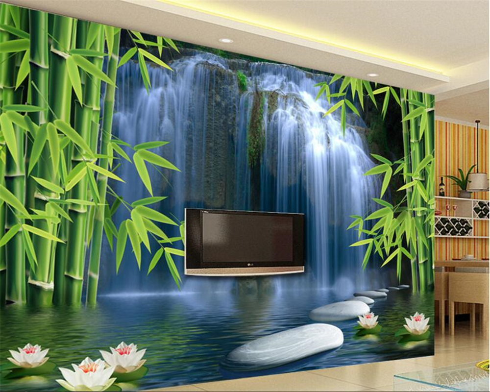 beibehang wall paper home decor Bamboo forest waterfall background wall decoration painting space  lotus 3D wallpaper mural