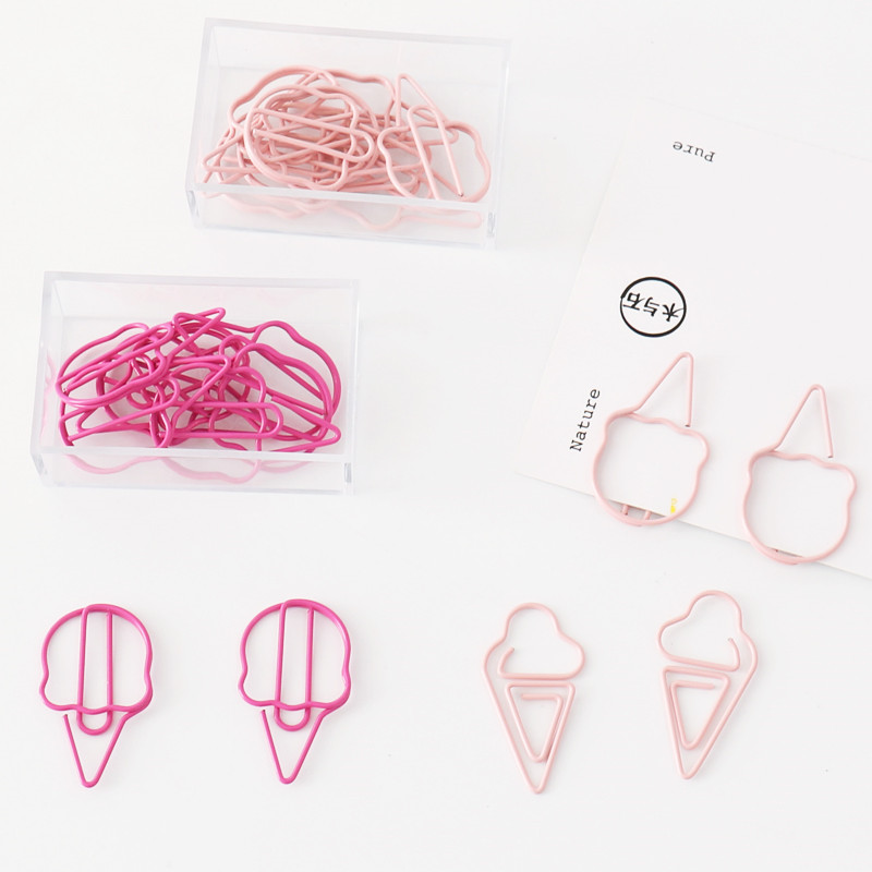 Shaped Clip 20 Pcs/lot Creative Kawaii Pineapple Ice Cream Bulb Shaped Metal Paper Clip Bookmark Stationery Escolar Papelaria