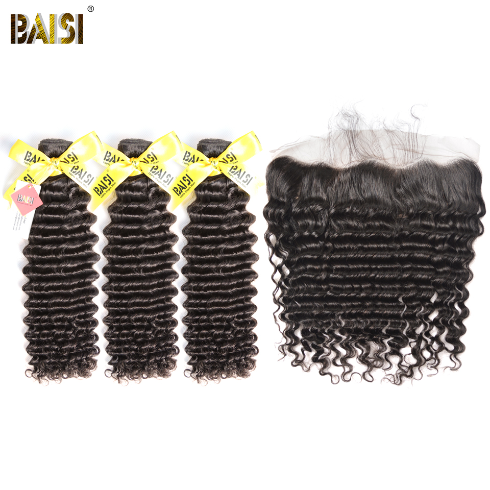 BAISI Hair Malaysian Virgin Deep Wave Hair 100 Unprocessed Human Hair 3 Bundles with Frontal