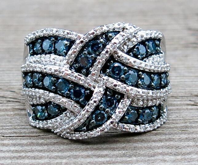 bcc3851affa7 Nueva boda cristal azul zirconia piedra sólida plata esterlina 925 armadura  anillo de compromiso para mujeres
