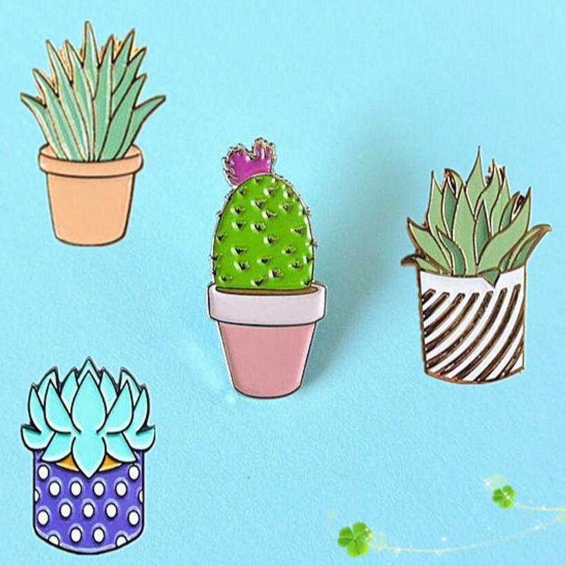 Timlee X039 New Oil Drop Cute Cactus Pots Planet Metal Brooch Pins Button Pins Girl Jeans Bag Decoration Gift Wholesale