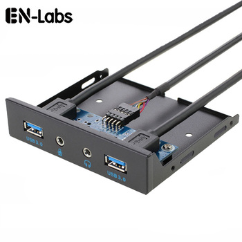En-Labs 2 Port  USB 3.0 Hub PC 3.5 Front Panel Audio Jack Microphone ,USB 20 pin Motherboard to Dual USB 3.0 Female Splitter