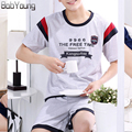 BabYoung 2017 Summer Casual Deutsch Mens Pajamas Set Cartoon Letter O-Neck Short Sleeve Pyjamas For Men Sleepwear Fitness Sets
