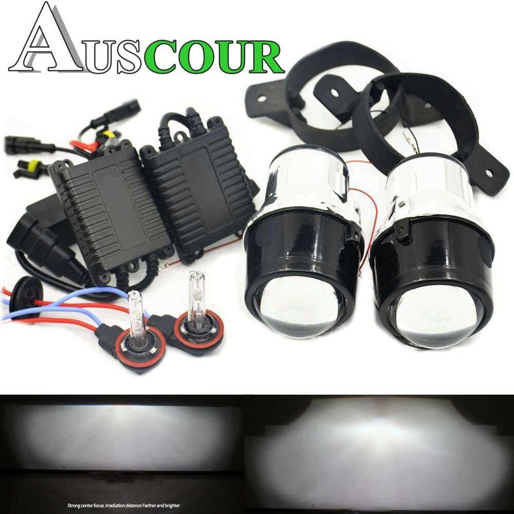 for Nissan TIIDA Fog projetor lens 2.5'' Full Metal Bi Xenon Projector Lens Auto H11 Fog Light 6000K 35W xenon ballast Modify fog light lens for toyota 2 5 full metal bi xenon projector lens with xenon kit auto h11 fog light