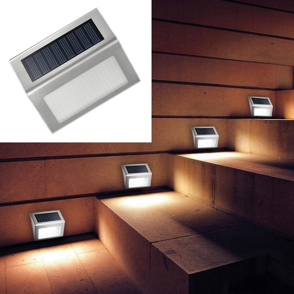 Солнечный Мощность светодиодный S Открытый Водонепроницаемый Путь Сад Лестницы свет лампы энергосберегающие светодиодный солнечный бра холодный белый
