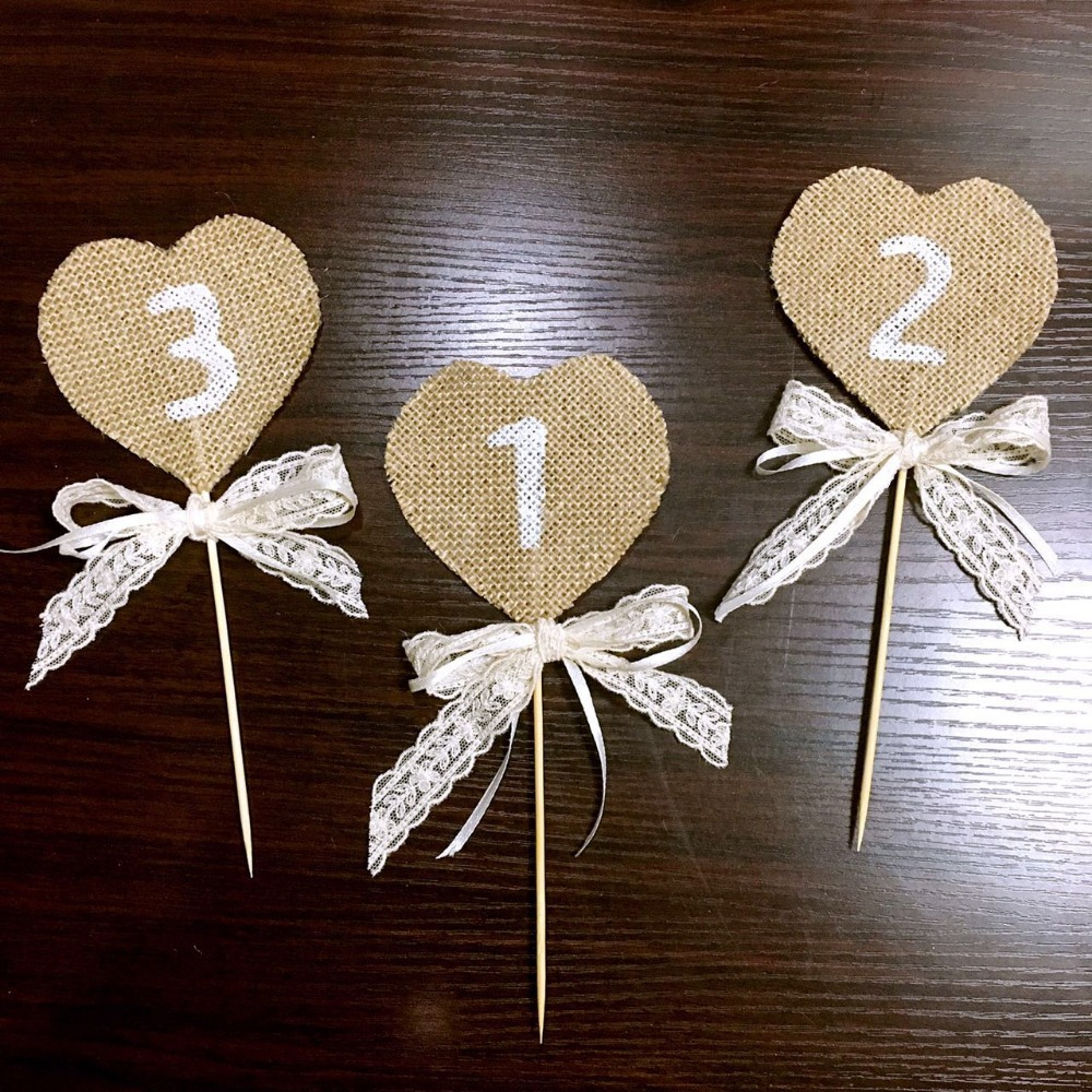 Handmade Rustic Table Numbers Wedding Decorating Lace Ribbon Cake Topper  Home Party Decorations Sale Label Table Centerpieces In Party DIY  Decorations From ...