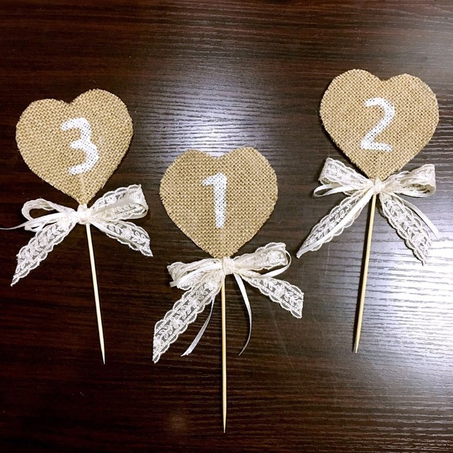Handmade rustic table numbers wedding decorating lace ribbon cake handmade rustic table numbers wedding decorating lace ribbon cake topper home party decorations sale label table junglespirit Choice Image
