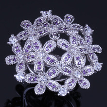 Brilliant Huge Flower Purple Cubic Zirconia White CZ 925 Sterling Silver Ring For Women V0523