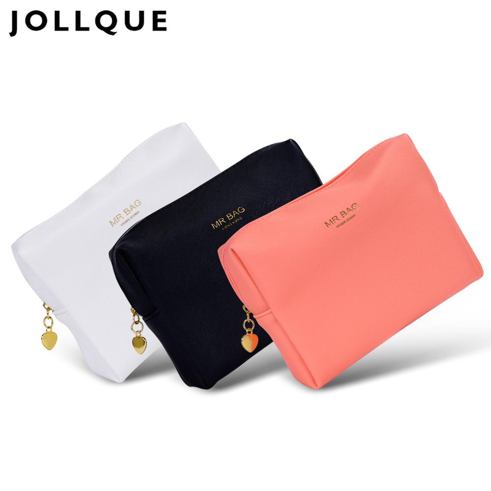 Jollque Candy color PU Leather Cosmetic Bag Women MakeUp Bag Organizer Waterproof Storage Bag Neceser retro simple pu leather cosmetic bag makeup bag reddish brown