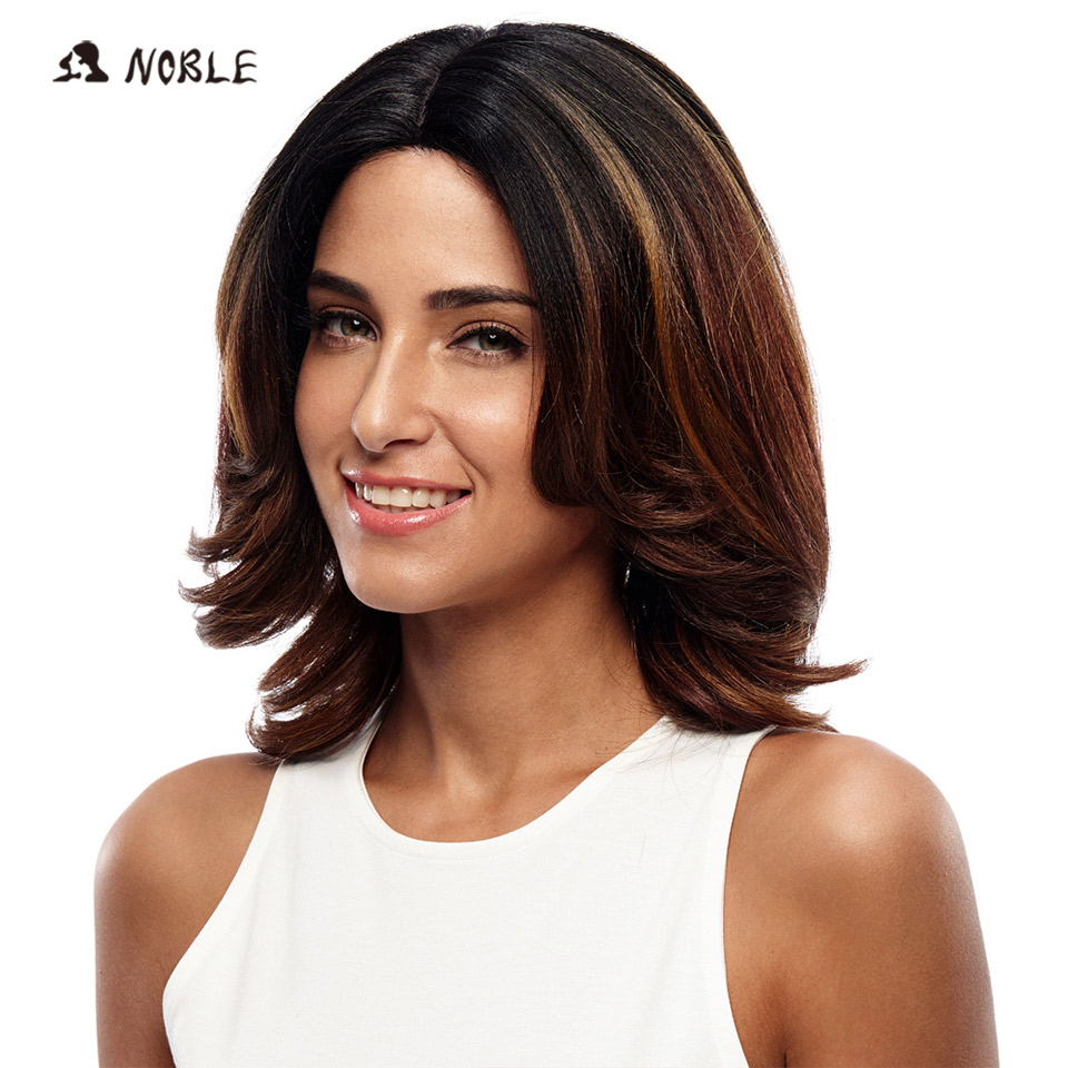 Noble Lace Front Wig Kort Loose Wave Syntetiskt Hår 16 tums paryk - Syntetiskt hår - Foto 1