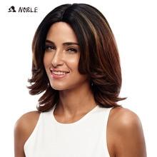 Noble Lace Front Wig կարճ չամրացված ալիք սինթետիկ մազերը 16 դյույմ կեղծամներ սև կանանց համար 3 գույ 2